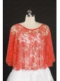2014 Popular Red Beading Lace Wraps for Summer