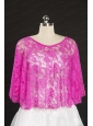 Elegant Hot Pink Beading Lace Wraps for 2014