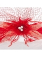 Romantic Red Feather Net Yarn Briadl Hat with Imitation Pearls