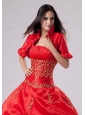 2015 Most Popular Open Front Short Sleeves Quinceanera Jacket in Red