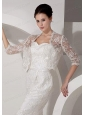 3/4 Sleeves Embroidery Jacket in Ivory With Lace