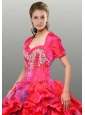 Discount Red Satin Special Occasion Quinceanera Jacket with Beading