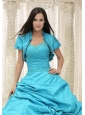 Elegant Teal Quinceanera Jacket Open Front For 2014