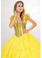 Fashionable Tulle Short Beading Quinceanera Jacket in Yellow