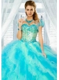 Newest Baby Blue Organza Bolero Quinceanera Jackets with Ruffles