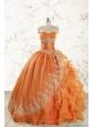 2015 Cheap Appliques Quinceanera Dresses in Orange