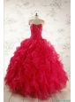 2015 New Style Sweetheart Coral Red Quinceanera Dresses with Beading