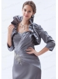 3/4 Sleeves Fold-over Collar Jacket in Grey