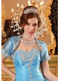 Fashionable Open Front Appliques Baby Blue Quinceanera Jacket