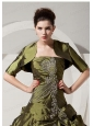 Inexpensive Olive Green Quinceanera Jacket with Short Sleeves