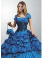 Remarkable Royal Blue Quinceanera Jacket On Sale with Open Front