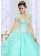 2014 Fashionable Beading Tulle Quinceanera Jacket in Mint