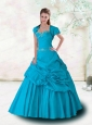 2015 Beading Strapless Blue Appliques and Pick-ups Quinceanera Dress