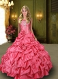 2015 Custom Made Strapless Watermelon Sweet 15 Dress with Hand Made Flowers and Beading