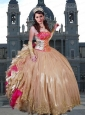 2015 Fabulous Embroidery and Ruffles Champagne Quinceanera Dressses