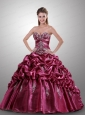 2015 Spaghetti Straps Fuchsia Quinceanera Dresses with Appliques and Pick-ups