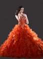 2015 Sweetheart Orange Red Appliques and Ruffles Gowns for Quinceanera