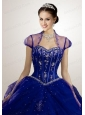 Appliques Tulle in Navy Blue Bolero Quinceanera Jackets Wedding with Beading
