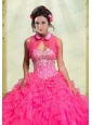 Beautiful Ruffles Organza Button Sleeveless Quinceanera Jacket in Hot Pink