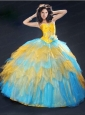 Colorful Ruching and Beading Quinceanera Dress with Ruffles