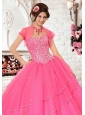 Exclusive Tulle Special Occasion Beading Quinceanera Jacket in Hot Pink