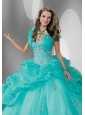 Fashionable Blue Organza Quinceanera Jacket with Beading