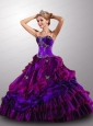 Gorgeous Sweetheart Ruffled Layers Multi-color Quinceanera Dress