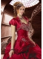 Gorgeous Wine Red Taffeta Quinceanera Jacket with Beading and Ruffles