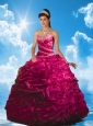 Lovely Fuchsia Quinceanera Dresses with Beading and Pick-ups for 2015