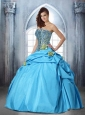 New Arrival Strapless Hand Made Flower and Beading Auqa Blue Quinceanera Dress For 2015
