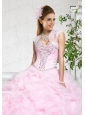 Popular Baby Pink Organza with Beading Sleeveless Quinceanera Jacket