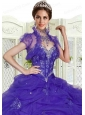 Purple Organza Special Occasion Wedding Bolero with Ruffles and Open Front