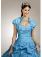 Special Beading and Ruffles Quinceanera Jacket with Ruching in Aqua Blue
