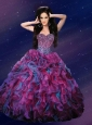 Sweetheart Beaded Decorate Organza Quinceanera Dress with Ruffles