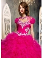 The Most Popular Ruffles and Beading Quinceanera Jacket   in Hot Pink