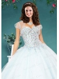 The Super White Tulle Special Occasion Quinceanera Jacket with Beading
