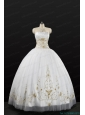 White Strapless 2015 Quinceanera Dress with Beading and Appliques