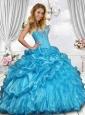 2015 Beautiful Sweetheart Beading Sweet 16 Dress in Blue