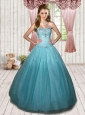 2015 Elegant Beading Sweet Sixteen Quinceanera Dresses in Sky Blue