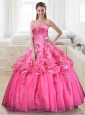 2015 Elegant Pink Quinceanera Dresses with Appliques and Beading