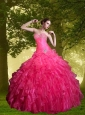2015 Fashionable Hot Pink Quinceanera Dresses with Beading and Ruffles