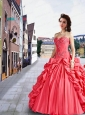 2015 Fashionable Sweetheart Appliques and Pick-ups Watermelon Red Dresses For a Quinceanera