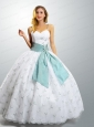 2015 Latest Straps Appliques and Sashes White Quinceanera Dresses