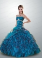 2015 Luxurious Strapless Blue Quinceanera Dresses with Beading and Ruffles