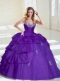 2015 Popular Taffeta Beading and Appliques Purple Quinceanera Dresses