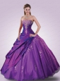 2015 Pretty Appliques and Ruffles Purple Dress for Quinceanera