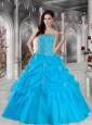 2015 Pretty Ball Gown Strapless Beading Blue Quinceanera Gowns