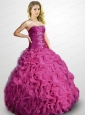 2015 The Most Popular Beading and Ruffles Sweet 15 Dress in Fuchsia