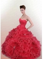 Amazing Sweetheart Beaded Decorate Quinceanera Dress in Red with Ruching