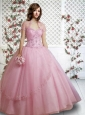 Beautiful Sweetheart Appliques and Hand Made Flowers Light Pink Quinceanera Gown